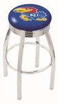 University of Kansas 25'' Chrome Finish Swivel Backless Counter Height Stool with 2.5'' Ribbed Accent Ring [L8C3C25KNSASU-FS-HOB]
