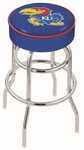University of Kansas 25'' Chrome Finish Double Ring Swivel Backless Counter Height Stool with 4'' Thick Seat [L7C125KNSASU-FS-HOB]