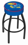 University of Kansas 25'' Black Wrinkle Finish Swivel Backless Counter Height Stool with 4'' Thick Seat [L8B125KNSASU-FS-HOB]