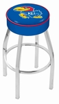 University of Kansas 25'' Chrome Finish Swivel Backless Counter Height Stool with 4'' Thick Seat [L8C125KNSASU-FS-HOB]