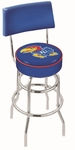 University of Kansas 25'' Chrome Finish Swivel Counter Height Stool with Double Ring Base [L7C425KNSASU-FS-HOB]