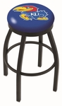 University of Kansas 25'' Black Wrinkle Finish Swivel Backless Counter Height Stool with Accent Ring [L8B2B25KNSASU-FS-HOB]