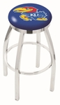 University of Kansas 25'' Chrome Finish Swivel Backless Counter Height Stool with Accent Ring [L8C2C25KNSASU-FS-HOB]