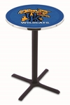 University of Kentucky 36''H Black Wrinkle Finish Counter Height Pub Table with X-Base [L211B36UKYCAT-FS-HOB]