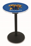 University of Kentucky 36''H Black Wrinkle Finish Counter Height Pub Table with Round Base [L214B36UKYCAT-FS-HOB]