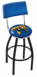 University of Kentucky 25'' Black Wrinkle Finish Swivel Counter Height Stool with Cushioned Back [L8B425UKYCAT-FS-HOB]