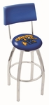 University of Kentucky 25'' Chrome Finish Swivel Counter Height Stool with Cushioned Back [L8C425UKYCAT-FS-HOB]