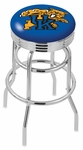 University of Kentucky 25'' Chrome Finish Double Ring Swivel Backless Counter Height Stool with Ribbed Accent Ring [L7C3C25UKYCAT-FS-HOB]