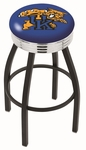 University of Kentucky 25'' Black Wrinkle Finish Swivel Backless Counter Height Stool with Ribbed Accent Ring [L8B3C25UKYCAT-FS-HOB]