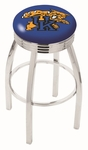 University of Kentucky 25'' Chrome Finish Swivel Backless Counter Height Stool with 2.5'' Ribbed Accent Ring [L8C3C25UKYCAT-FS-HOB]