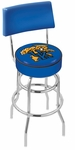 University of Kentucky 25'' Chrome Finish Swivel Counter Height Stool with Double Ring Base [L7C425UKYCAT-FS-HOB]