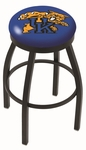 University of Kentucky 25'' Black Wrinkle Finish Swivel Backless Counter Height Stool with Accent Ring [L8B2B25UKYCAT-FS-HOB]