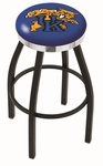 University of Kentucky 25'' Black Wrinkle Finish Swivel Backless Counter Height Stool with Chrome Accent Ring [L8B2C25UKYCAT-FS-HOB]