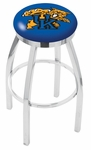 University of Kentucky 25'' Chrome Finish Swivel Backless Counter Height Stool with Accent Ring [L8C2C25UKYCAT-FS-HOB]