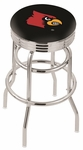 University of Louisville 25'' Chrome Finish Double Ring Swivel Backless Counter Height Stool with Ribbed Accent Ring [L7C3C25LVILLE-FS-HOB]