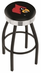 University of Louisville 25'' Black Wrinkle Finish Swivel Backless Counter Height Stool with Ribbed Accent Ring [L8B3C25LVILLE-FS-HOB]