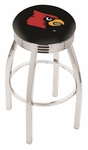 University of Louisville 25'' Chrome Finish Swivel Backless Counter Height Stool with 2.5'' Ribbed Accent Ring [L8C3C25LVILLE-FS-HOB]