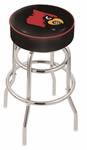 University of Louisville 25'' Chrome Finish Double Ring Swivel Backless Counter Height Stool with 4'' Thick Seat [L7C125LVILLE-FS-HOB]