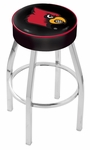 University of Louisville 25'' Chrome Finish Swivel Backless Counter Height Stool with 4'' Thick Seat [L8C125LVILLE-FS-HOB]