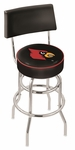 University of Louisville 25'' Chrome Finish Swivel Counter Height Stool with Double Ring Base [L7C425LVILLE-FS-HOB]