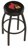 University of Louisville 25'' Black Wrinkle Finish Swivel Backless Counter Height Stool with Accent Ring [L8B2B25LVILLE-FS-HOB]
