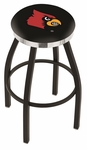 University of Louisville 25'' Black Wrinkle Finish Swivel Backless Counter Height Stool with Chrome Accent Ring [L8B2C25LVILLE-FS-HOB]