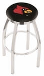 University of Louisville 25'' Chrome Finish Swivel Backless Counter Height Stool with Accent Ring [L8C2C25LVILLE-FS-HOB]