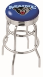 University of Maine 25'' Chrome Finish Double Ring Swivel Backless Counter Height Stool with Ribbed Accent Ring [L7C3C25MAINEU-FS-HOB]