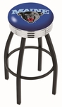 University of Maine 25'' Black Wrinkle Finish Swivel Backless Counter Height Stool with Ribbed Accent Ring [L8B3C25MAINEU-FS-HOB]