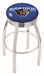 University of Maine 25'' Chrome Finish Swivel Backless Counter Height Stool with 2.5'' Ribbed Accent Ring [L8C3C25MAINEU-FS-HOB]