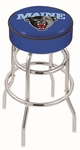 University of Maine 25'' Chrome Finish Double Ring Swivel Backless Counter Height Stool with 4'' Thick Seat [L7C125MAINEU-FS-HOB]