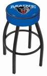 University of Maine 25'' Black Wrinkle Finish Swivel Backless Counter Height Stool with 4'' Thick Seat [L8B125MAINEU-FS-HOB]