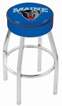 University of Maine 25'' Chrome Finish Swivel Backless Counter Height Stool with 4'' Thick Seat [L8C125MAINEU-FS-HOB]