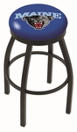University of Maine 25'' Black Wrinkle Finish Swivel Backless Counter Height Stool with Accent Ring [L8B2B25MAINEU-FS-HOB]