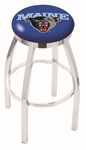 University of Maine 25'' Chrome Finish Swivel Backless Counter Height Stool with Accent Ring [L8C2C25MAINEU-FS-HOB]