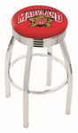 University of Maryland 25'' Chrome Finish Swivel Backless Counter Height Stool with 2.5'' Ribbed Accent Ring [L8C3C25MRYLND-FS-HOB]