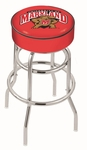 University of Maryland 25'' Chrome Finish Double Ring Swivel Backless Counter Height Stool with 4'' Thick Seat [L7C125MRYLND-FS-HOB]