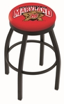University of Maryland 25'' Black Wrinkle Finish Swivel Backless Counter Height Stool with Accent Ring [L8B2B25MRYLND-FS-HOB]