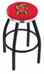 University of Maryland 25'' Black Wrinkle Finish Swivel Backless Counter Height Stool with Chrome Accent Ring [L8B2C25MRYLND-FS-HOB]