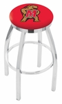 University of Maryland 25'' Chrome Finish Swivel Backless Counter Height Stool with Accent Ring [L8C2C25MRYLND-FS-HOB]