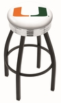 University of Miami 25'' Black Wrinkle Finish Swivel Backless Counter Height Stool with Ribbed Accent Ring [L8B3C25MIA-FL-FS-HOB]