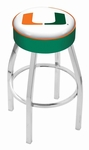 University of Miami 25'' Chrome Finish Swivel Backless Counter Height Stool with 4'' Thick Seat [L8C125MIA-FL-FS-HOB]