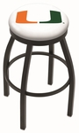 University of Miami 25'' Black Wrinkle Finish Swivel Backless Counter Height Stool with Accent Ring [L8B2B25MIA-FL-FS-HOB]