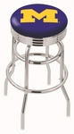 University of Michigan 25'' Chrome Finish Double Ring Swivel Backless Counter Height Stool with Ribbed Accent Ring [L7C3C25MICHUN-FS-HOB]