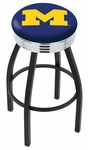 University of Michigan 25'' Black Wrinkle Finish Swivel Backless Counter Height Stool with Ribbed Accent Ring [L8B3C25MICHUN-FS-HOB]