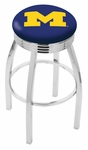 University of Michigan 25'' Chrome Finish Swivel Backless Counter Height Stool with 2.5'' Ribbed Accent Ring [L8C3C25MICHUN-FS-HOB]