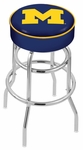 University of Michigan 25'' Chrome Finish Double Ring Swivel Backless Counter Height Stool with 4'' Thick Seat [L7C125MICHUN-FS-HOB]