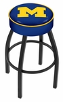 University of Michigan 25'' Black Wrinkle Finish Swivel Backless Counter Height Stool with 4'' Thick Seat [L8B125MICHUN-FS-HOB]
