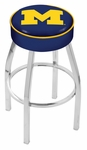 University of Michigan 25'' Chrome Finish Swivel Backless Counter Height Stool with 4'' Thick Seat [L8C125MICHUN-FS-HOB]