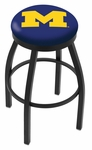 University of Michigan 25'' Black Wrinkle Finish Swivel Backless Counter Height Stool with Accent Ring [L8B2B25MICHUN-FS-HOB]